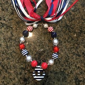 Jewelry - Girls red white blue chunky necklace with bow